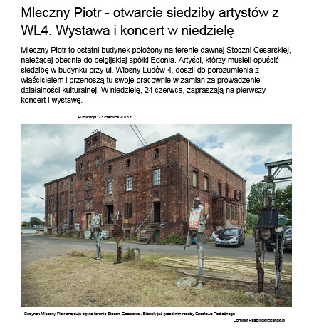 Mleczny Piotr - otwarcie siedziby artystów z WL4. Wystawa i koncert w niedzielę